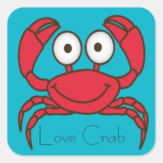 Liebe-Krabben-Aufkleber Quadratischer Aufkleber