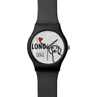 Liebe-lange Hunde der Dackel-niedliche Uhr