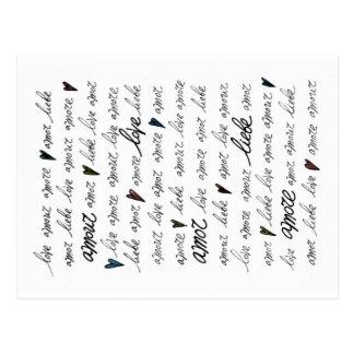 """""""Liebe-Liebe Amore Liebe Amor """" Postkarte"""