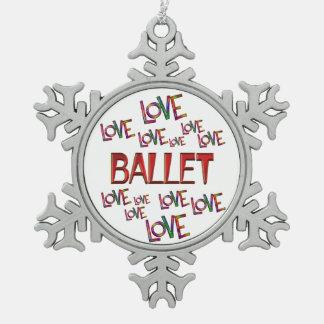 Liebe-Liebe-Ballett Schneeflocken Zinn-Ornament