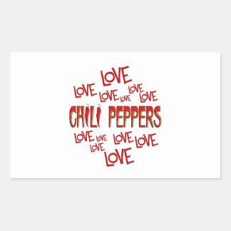 Liebe-Liebe-Chili-Paprikaschoten Rechteckiger Aufkleber