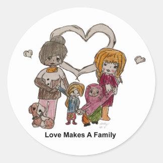 Liebe macht eine Familie durch Ainsley--Aufkleber Runder Aufkleber
