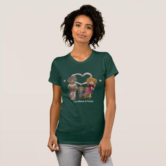 Liebe macht eine Familie durch die grüne T der T-Shirt