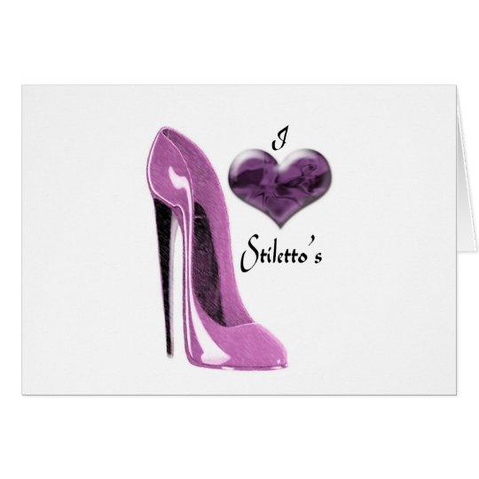 Liebe-Maulbeerrosa-Stilett-Schuh und Herz Karte