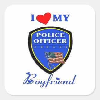 Liebe mein Polizei-Freund Quadratischer Aufkleber