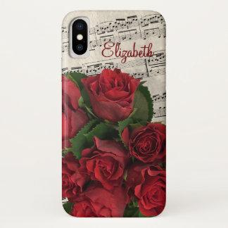 Liebe-Melodien-Rote Rosen und Name iPhone X Hülle