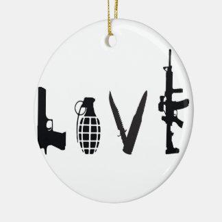 Liebe mit Waffen Rundes Keramik Ornament