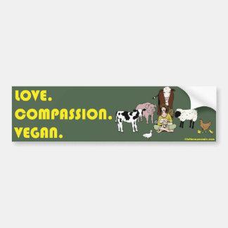Liebe. Mitleid. Vegan. Autoaufkleber