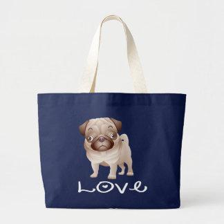 Liebe-Mops-Welpen-HundeLeinwand-Tasche Jumbo Stoffbeutel