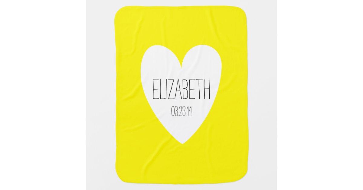 liebe name geburts datums gelb baby decke babydecke. Black Bedroom Furniture Sets. Home Design Ideas