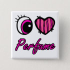 Liebe-Parfüm des Emo Augen-Herz-I Quadratischer Button 5,1 Cm