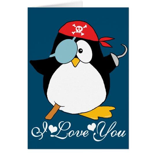 Liebe Piratpenguin-I Sie Grußkarte
