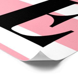 LIEBE Plakat-- rosa und weiße Streifen Poster