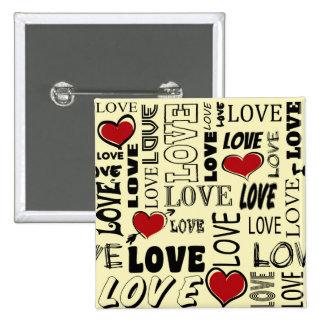 Liebe Quadratischer Button 5,1 Cm