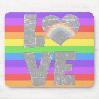 Liebe-Regenbogen-Herz-Mausunterlage Mousepads