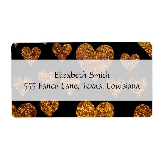 Liebe, Romance, Herzen, Glitzer - schwarzes Gold Versandetiketten