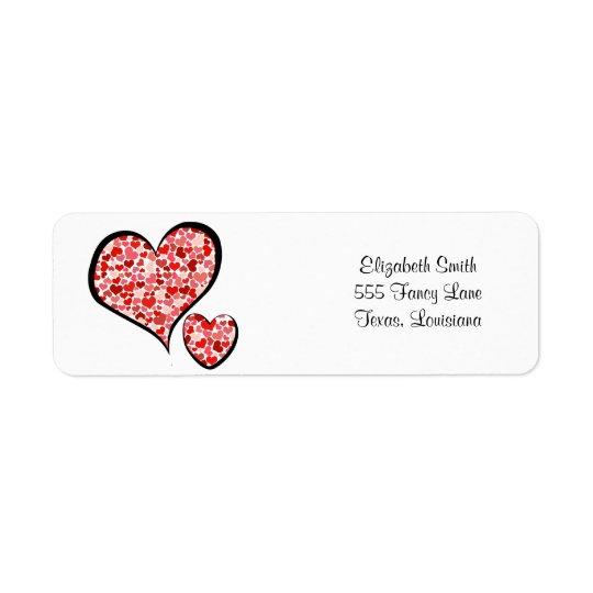 Liebe, Romance, Herzen - rotes Weiß Rückversand-Adressaufkleber