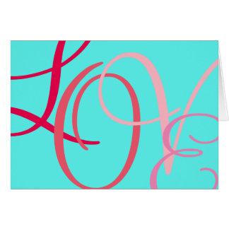 Liebe-rosa Buchstaben auf Aqua Grußkarte