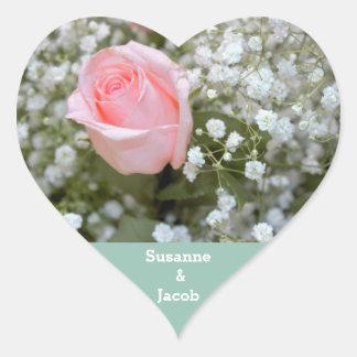 Liebe-rosa Rosen-Foto Herz Sticker