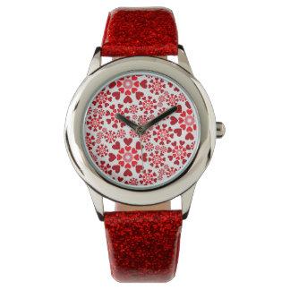 Liebe-rote Glitteruhr Armbanduhr