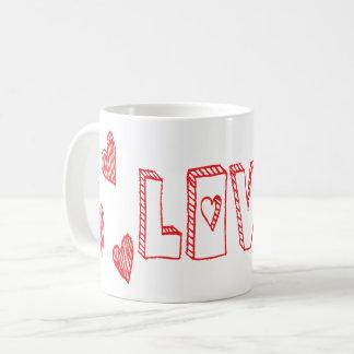Liebe-rote und weiße Herzen - Hochzeit Kaffeetasse