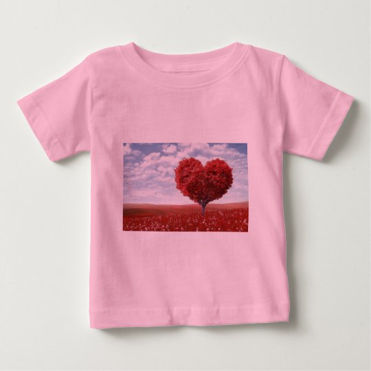 Liebe-roter Herz-Baum-Baby-Geldstrafe-Jersey-T - Baby T-shirt