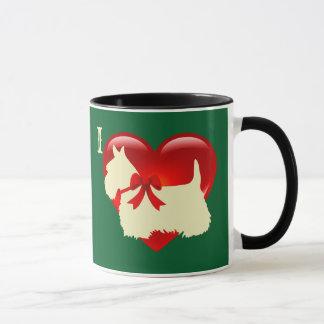 Liebe/rotes Herz schottischer Terrier, Tasse