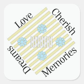 Liebe, schätzen, Erinnerungen und träumen Quadratischer Aufkleber
