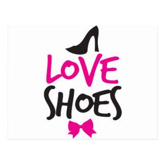 Liebe-Schuhe mit niedlichem kleinem Bogen Postkarten