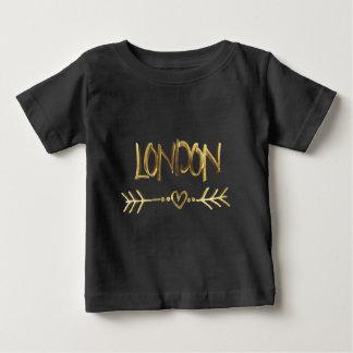 Liebe-Schwarz-Goldtypographie Londons BRITISCHE Baby T-shirt