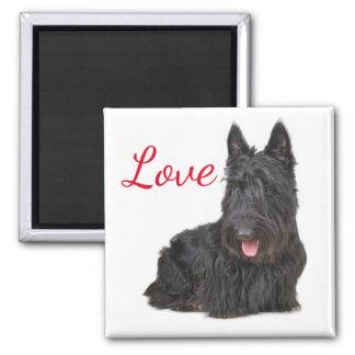 Liebe-schwarzer schottischer Terrier-Welpen-Hund Quadratischer Magnet