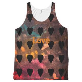 Liebe schwärzte Grunge mit Tinte Komplett Bedrucktes Tanktop