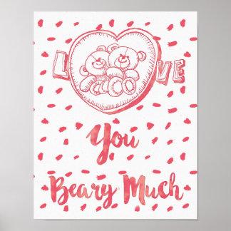Liebe Sie Beary Much|Funny BärValentine Poster