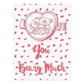 Liebe Sie Beary Much|Funny BärValentine Postkarte