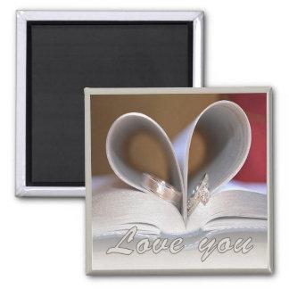 Liebe Sie Hochzeits-Ring-Magnet Quadratischer Magnet