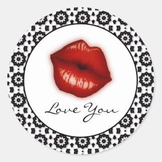 Liebe Sie: Lippenaufkleber Runder Aufkleber