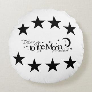 Liebe Sie zum Mond und hinteren zum Slogan-Kissen Rundes Kissen