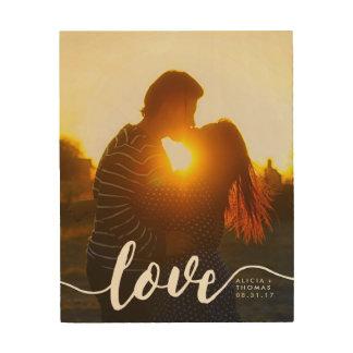 Liebe-Skript-Hochzeit oder Verlobungs-Foto Holzdrucke