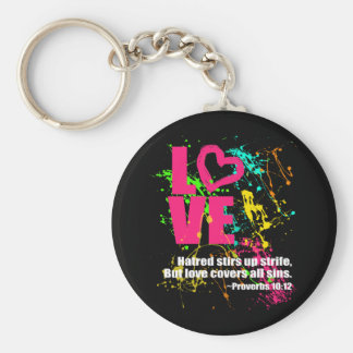Liebe-Sprichwort-Bibel-Vers-Neonfarben-Spritzer Standard Runder Schlüsselanhänger