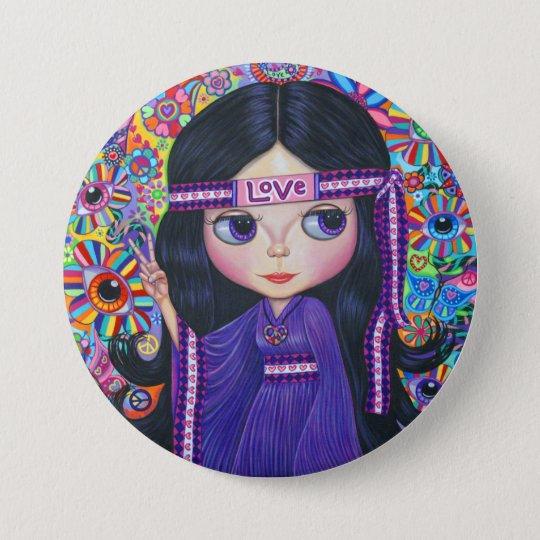 Liebe-Stirnbandhippie-Mädchen-Puppen-lila Runder Button 7,6 Cm