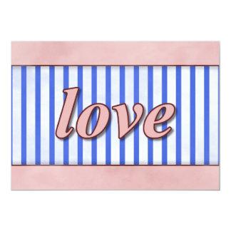 """""""Liebe"""" Striped Hintergrund-rosarotes Blau 12,7 X 17,8 Cm Einladungskarte"""