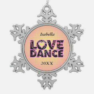 Liebe-Tanz Schneeflocken Zinn-Ornament