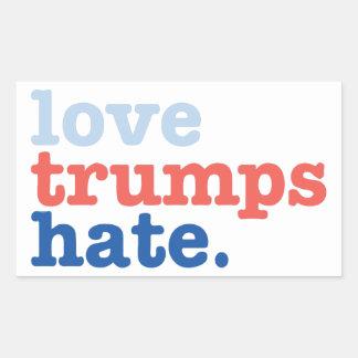 Liebe-Trumpf-Hass Rechteckiger Aufkleber