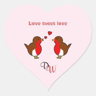 Liebe tweeten kundenspezifisches Initialenrosa der Herz-Aufkleber