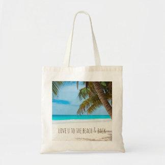 Liebe U zum Strand u. zur Rückseite Tragetasche