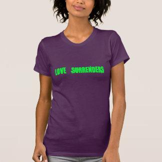 Liebe übergibt (Limones Grün auf Aubergine) T-Shirt