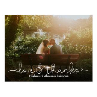 Liebe-und Dank-Herz-Hochzeits-Foto danken Ihnen zu Postkarte