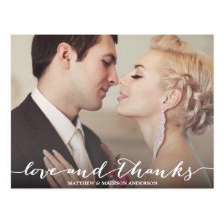 Liebe-und Dank-Skript-Überlagerung Postkarte