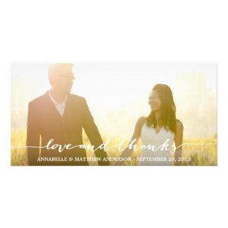 Liebe-und Dank-Skript-Überlagerungs-Hochzeit Photo Karte