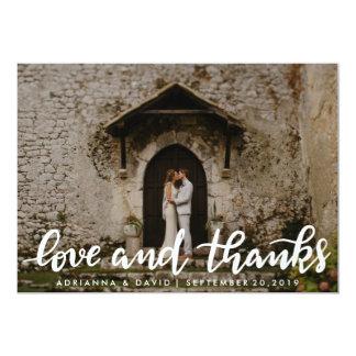 Liebe-und Dank-weißes Skript-Paar-Foto 12,7 X 17,8 Cm Einladungskarte